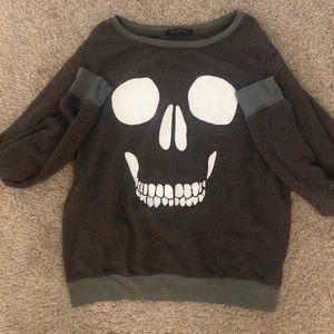 Wildfox skull Halloween sweatshirt gray